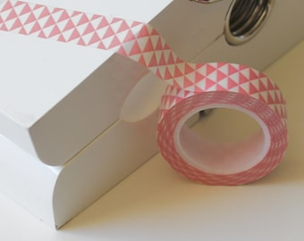 Pink and White Triangles Washi Tape - 15mm x 10m roll Pink Washi tape, Washy tape, Craft tape, Gift tape, Masking tape, Paper tape