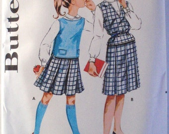 Butterick 9881 - 1960s Girl's Pleated Skirt, Overblouse and Button Front Shirt Sewing Pattern - Size 7, Breast 25