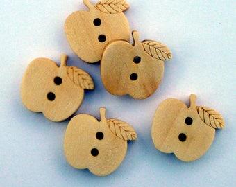 Set of 6 beige Apple fruit 15mm 2 holes wood buttons