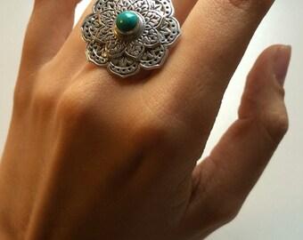 Turquoise Mandala Ring, Sterling Silver Rings, Concho Ring, Lotus Boho Chic Ring, Statement, Gypsy Ring, Wanderlust, Statement Ring