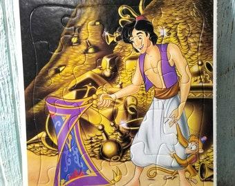 Disney Aladdin cadre Plateau Puzzle, Puzzle de 20 pièces enfants, Aladdin et singe Abu