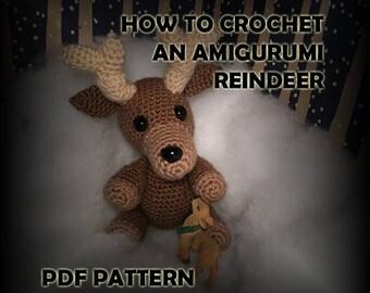 How to Crochet Amigurumi Reindeer Stuffed Animal - Crochet Reindeer Pattern - Crochet PDF - DIY Crafts - Christmas Toy Crochet Pattern