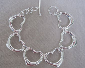 "Classic Silver Open Hearts Linked Together in Love 7-1/2"" Bracelet"