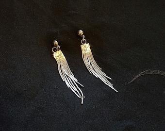 Sterling Fringe Dangle Earrings - Stud with Chain - Vintage