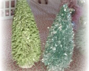5.5 in flocked LIGHT GREEN bottle brush tree vintage style