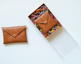 Business card cases etsy vegan leather envelope wallet gifts for her square business card holder business card colourmoves