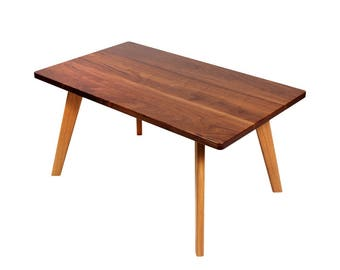 Black-50 coffee table in the mid-century style of walnut and oak