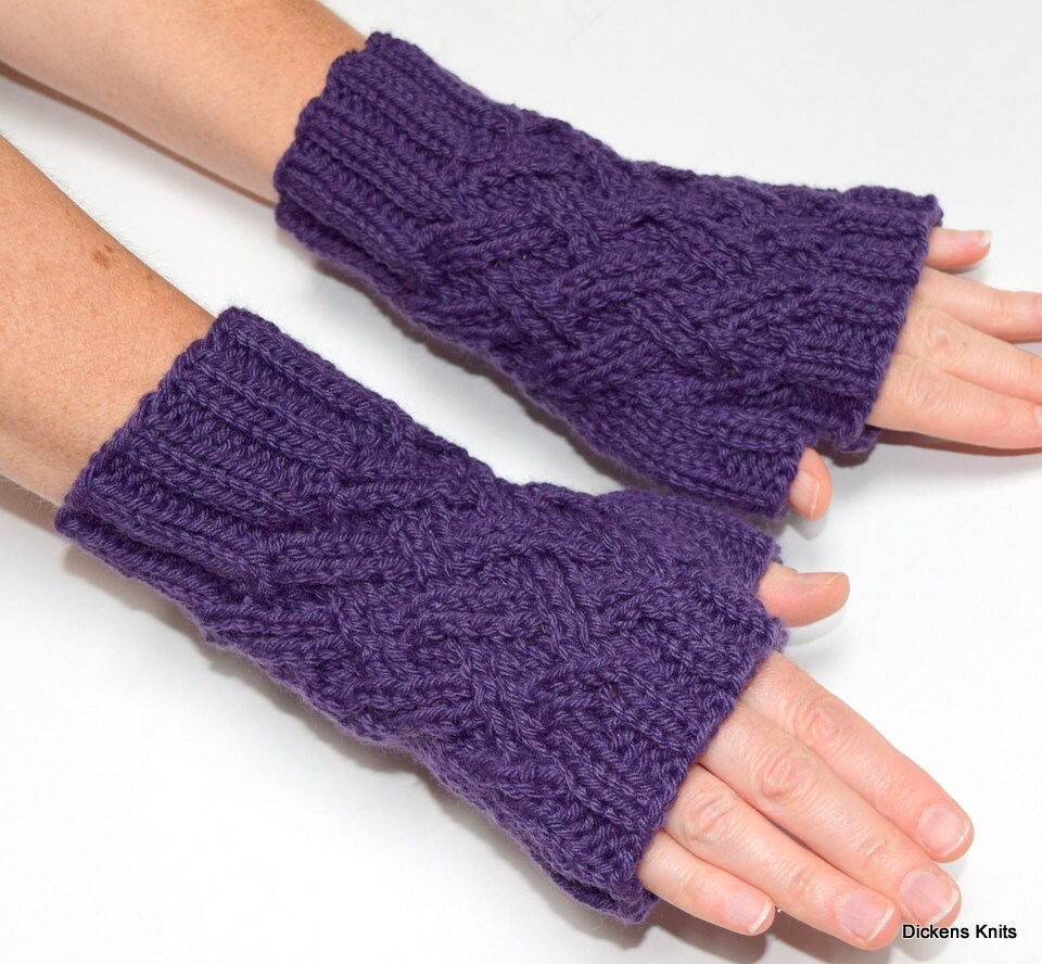 PDF KNITTING PATTERN, Double Lattice Fingerless Mittens, Fingerless ...
