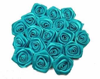 10 heads fonce3 ref 343 diameter turquoise blue satin rose