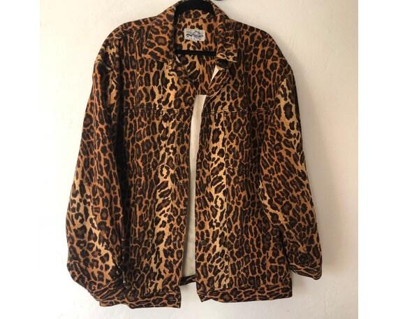 Denim Oversized Print America Jacket Print Jacket Coat Leopard Leopard Jacket 80s Perry Jacket Ellis Sax0UX