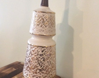 Vintage Ceramic and Wood Lamp/Gold and White Lamp/Mid Century Modern Lamp