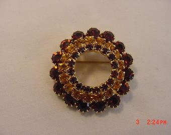 Vintage Gold & Brown Rhinestone Brooch  18 - 531