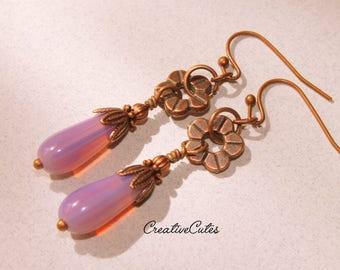 Lavender Boho Earring Dangles, Light Milky Purple Czech Glass Tear Drops, Rustic Copper Flowers, Dainty Feminine Bohemian Jewelry
