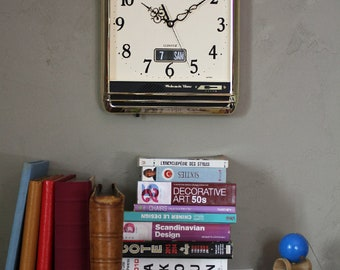 CITIZEN clock Japan Quartz chime Golden calendar day 6: OverSized 1980 late century clock watch time speaker