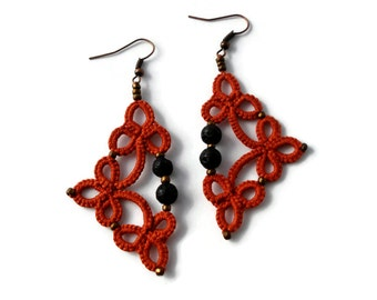 Tatted earrings with lava beads in orange/Tatted lace earrings/Tatted beaded earrings/Frivolite/Tatted jewelry/Dangle earrings