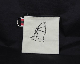 Black Bat Embroidered Pouch