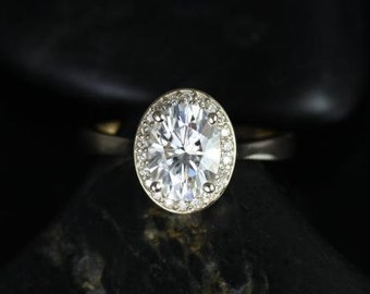 Rosados Box Swink 8x6mm 14kt Yellow Gold Oval F1- Moissanite and Diamond Pave Halo Engagement Ring