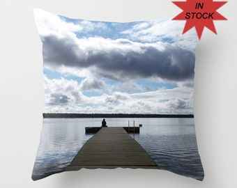 Blue Lake House Pillow Cover, Cottage Chic Accent Cushion, Aluminium Grey, Placid Blue, Decorative Rustic Beach Cabin Decor, Chalet