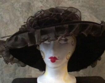 SALE Brown Velvet Hat