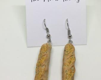 garlic butter toast bread baguette dangle polymer clay earrings