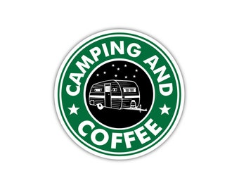 Camping and Coffee Travel Trailer Camp Stars Vinyl Decal Sticker