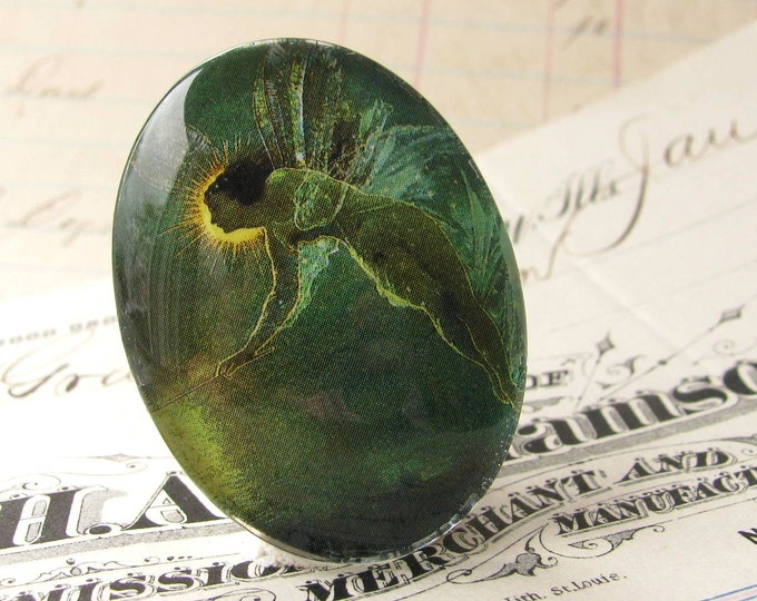 """Glass oval cabochon """"Absinthe Fairy"""" artisan crafted, 40x30mm 30x40mm 30 40 40x30 emerald green fairy, loose cabochon, mystical magical"""