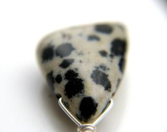Dalmatian Jasper Earrings . Dalmatian Jewelry . Black and White Earrings . Natural Stone Earrings Wire Wrapped
