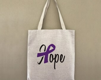 Custom Tote Bag Domestic Violence Hope Ribbon Alzheimers Customizable Personalized Gift For Her Gift For Him Shopping Bulk Farmers Market