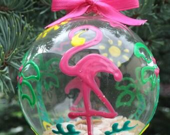 Flamingo and Palm Tree Christmas Beach Ball Ornament