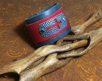 Red, silver cross cuff Bracelet