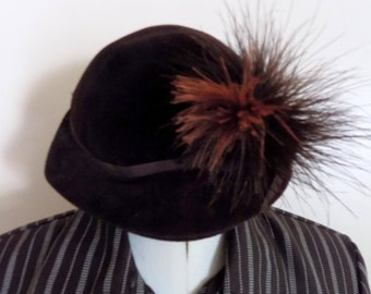 60s Cloche Hat, Brown Hat, Feather, Fall, Autumn, Cloche Hat, Monte Carlo, Velour, Made in Italy, Womans Hat, Womans Accessory, 1960s