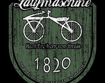 Early bicycle -  Laufmaschine - Bicycle prototype Tee Shirt - German - Cycling - American Apparel