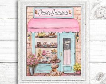 Paris Bedroom Decor, Personalized Pink Paris Patisserie, Choose Girl's Name & Font, French Poodle, Paris Decor, 6 Sizes 5x7 to 24x36 Poster