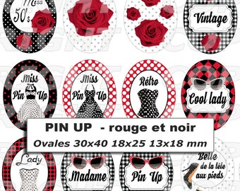 54 digital images for cabochon oval theme pinup retro vintage black and Red version