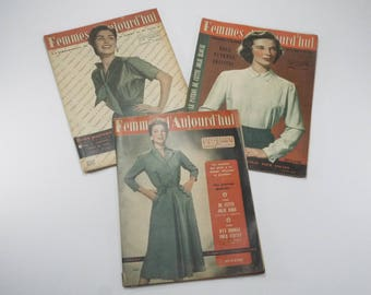 1953 s sewing Knitting Patterns, french Women Magazine with set of 6 Sewing Patterns, Embroidery, Crochet. Women today