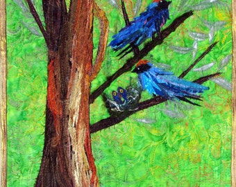 Swallow Family in a Nest Quilt Art Wall Hanging