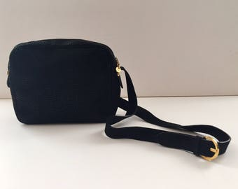 Ferragamo black speckled suede crossbody bag