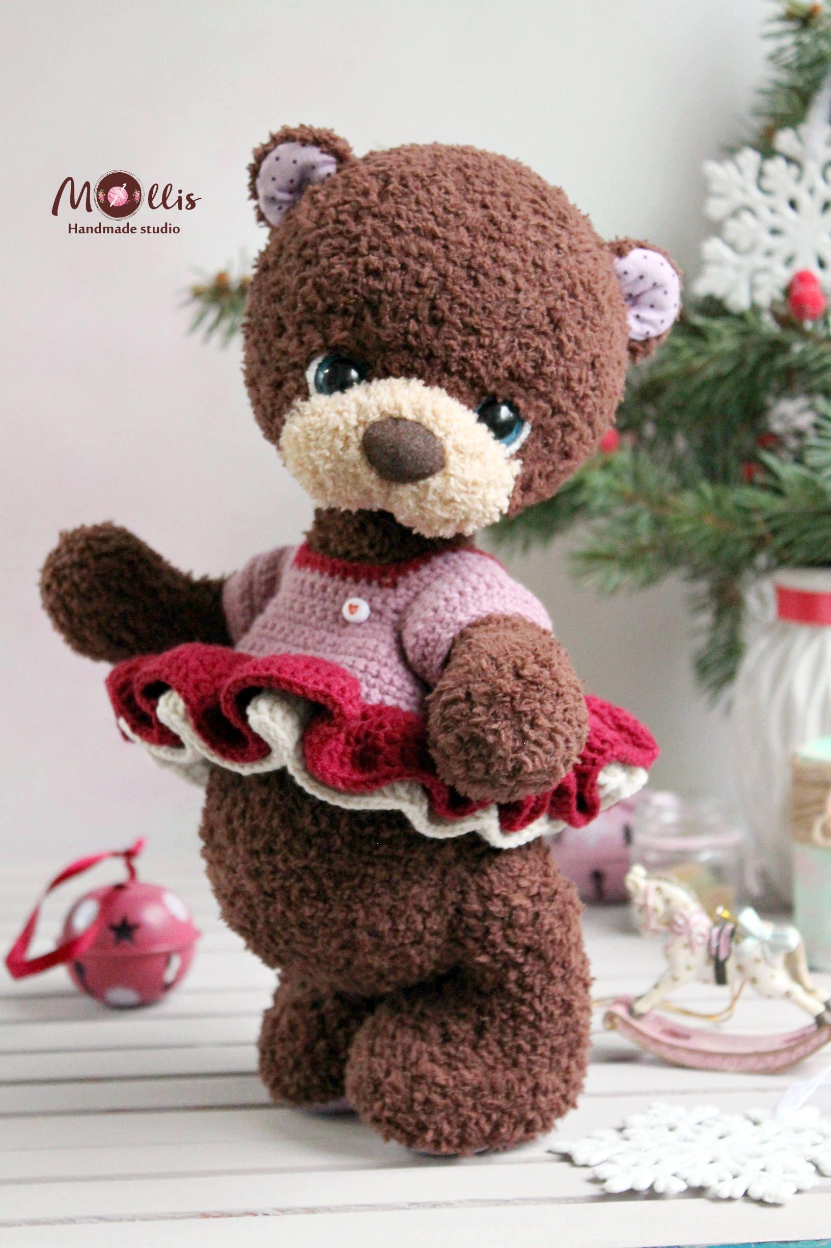 Häkeln Sie Bär Spielzeug Amigurumi Teddybär Braun Natur