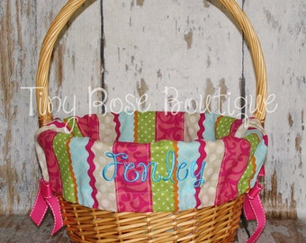 Personalized Easter Basket Liner - Striped Ric Rac