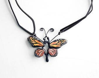 Monarch Butterfly Necklace, Unusual Primitive Style Hand Painted Clay Butterfly Wings and Wire Wrap Pendant on Faux Suede Cord Boho Jewelry