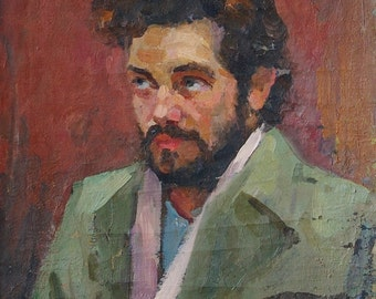 Portrait Man original oil painting, oil portrait paintings, Ukrainian artist Batov G.P. Port 50-40 oil on canvas. 70е 0.1