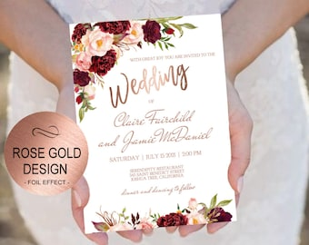 Marsala Rose Gold Wedding Invitation Template Set-Blush Flowers Watercolor Invite-DIY Printable Invitations-PDF-Download Instantly |VRD130RF