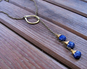 Sundrop - Lapis Lariat Necklace - Semi Precious Stone and Brass Teardrop Lariat Necklace - Artisan Tangleweeds Jewelry