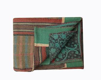 Vintage kantha Quilt, Hand stitched KANTHA  Patchwork throw blanket