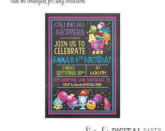 Shopkins Invitation 4x6 or 5x7 digital you print your own- Design 231