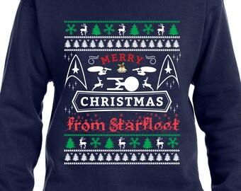Merry Christmas From Star Fleet Crew Neck Sweater Ugly Sweater Christmas Sweater Star Trek Christmas Gift Star Trek Enterprise Sweater TH363 Tpdky