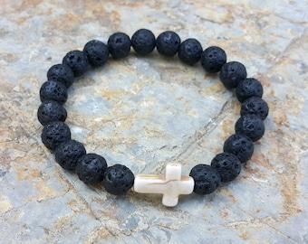 Men's Cross Bracelet,  Men's Spiritual Bracelet, Christian Bracelet, Faith Bracelet, Lava Stone, Men's Cross Jewelry, Men's Gift
