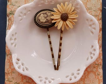 Set of 2 floral bobby hair pin Cameo and Chrysanthemum Fall hair accessory Flower hair pins