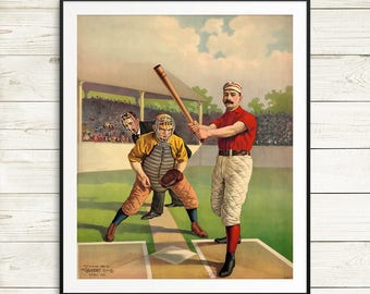 Vintage baseball posters, baseball player gifts, baseball coach gift, baseball wall art, baseball art prints, antique baseball cards, prints