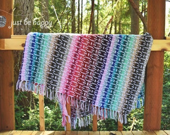 Instant PDF Download, Chain Reaction Blanket, Crochet Pattern